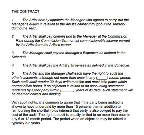 artist management contract templates word