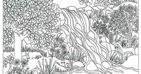 printable waterfall nature scene coloring page coloring  adults  triciagriffitharts