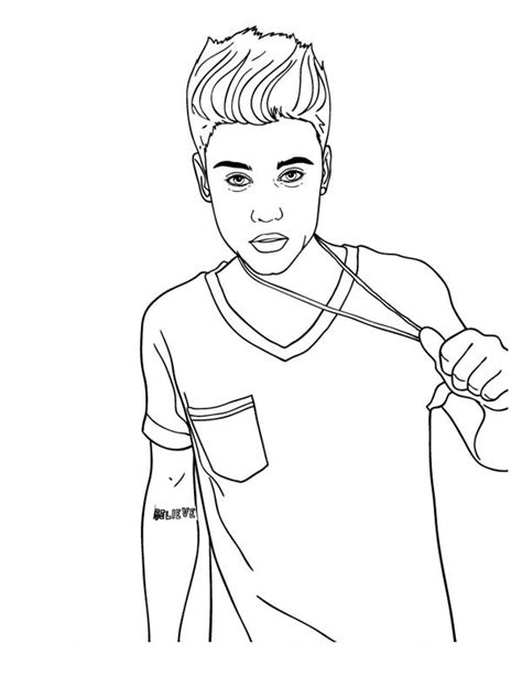 justin bieber  celebrities printable coloring pages