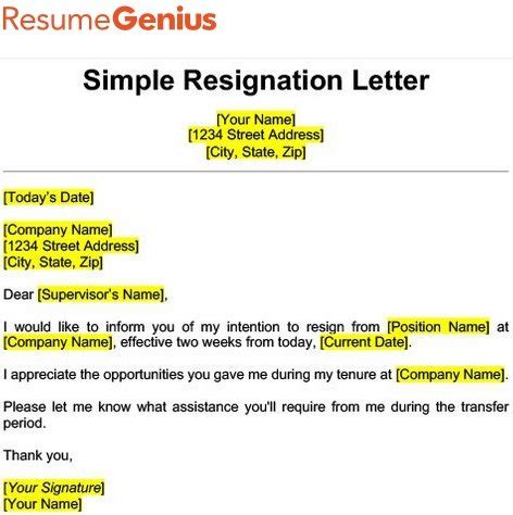 websites  write simple resignation letter