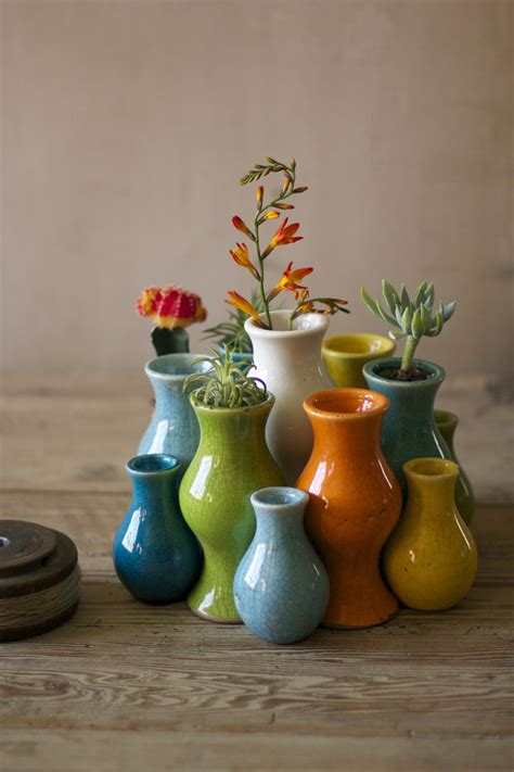 set  thirteen nesting multi colored ceramic bud vases