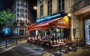 Wallpaper paris, france, cafe, evening, city, street ...