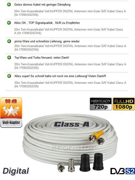 sat kabel 20m 20m koaxialkabel voll kupfer digital antennen mini koax sat kabel class a ebay