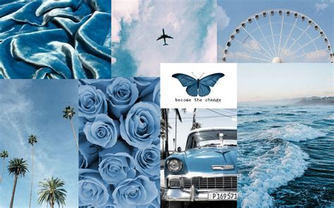 blue aesthetic collage wallpaper in 2020 aesthetic