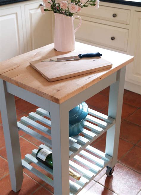 Hand Painted Solid Wood Butcher's Block Kitchen Island By