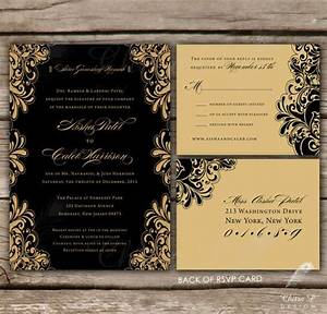 black and gold wedding invitations with luxe envelopes With indian wedding invitations black and white