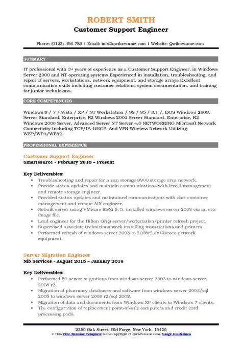 resume customer support engineer customer support engineer resume