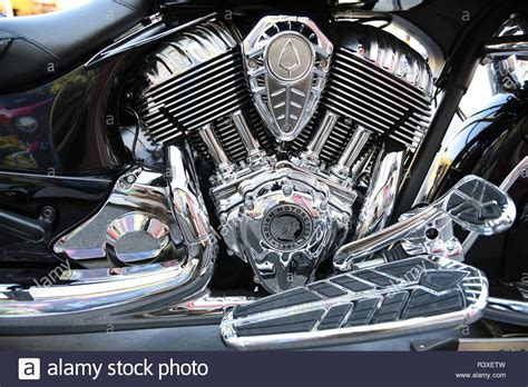 Indian Motorcycle Engine Assembly Close Up In Sturgis