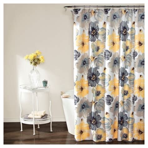 Leah Floral Shower Curtain Yellow Gray  Lush Decor® Target