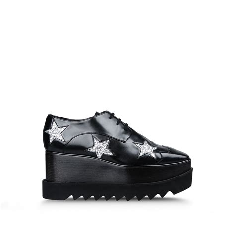 heels oxford lyst stella mccartney elyse leather oxford shoes in black