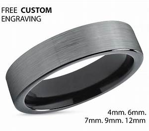 Tungsten Ring Mens Brushed Silver Black Wedding Band