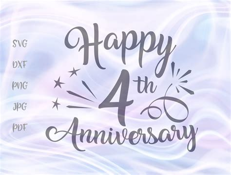Happy 4th Anniversary Four Year Wedding Graphic by ...