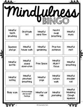 mindfulness bingo game  task cards  school
