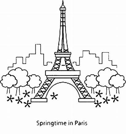 Coloring Tower Eiffel Paris Springtime Mewarnai Monas