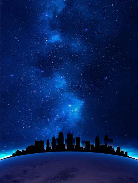 city night scene star poster design blue starry sky