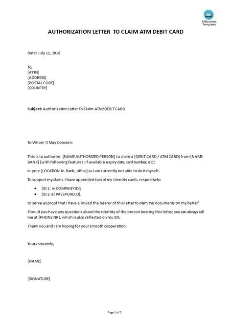 authorization letter  claim atm debit card templates