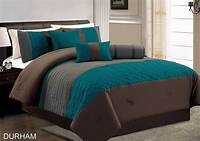 teal and brown bedding 7-Piece Durham Teal Grey Brown Pleated Quilting Comforter ...