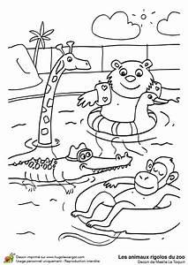 Dessin De Piscine : dessin colorier des animaux rigolos la piscine ~ Melissatoandfro.com Idées de Décoration