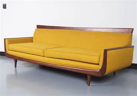 mid century loveseat mid century modern walnut sofa at 1stdibs