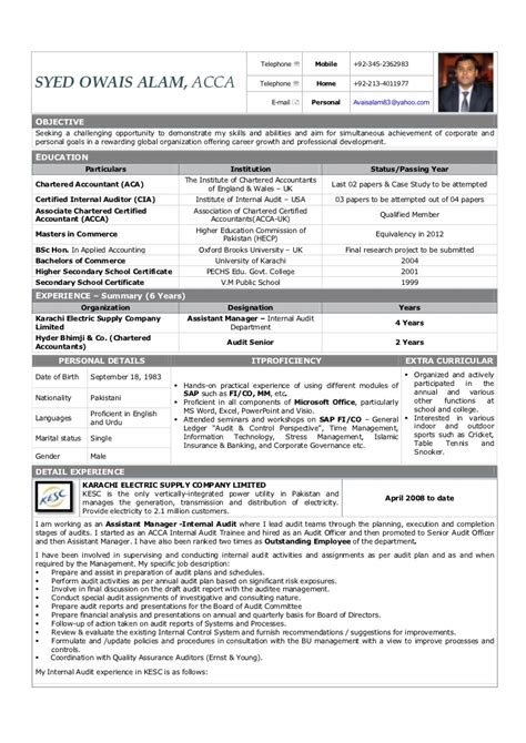 resume of external auditor sle resume acca student augustais