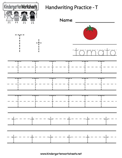 kindergarten letter t writing practice worksheet printable