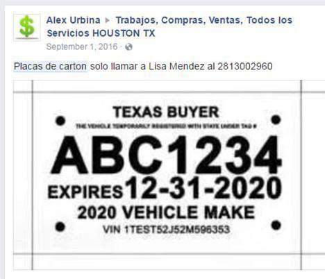 texas temporary license plate 2 3400 s urbahn ave apt laredo tx
