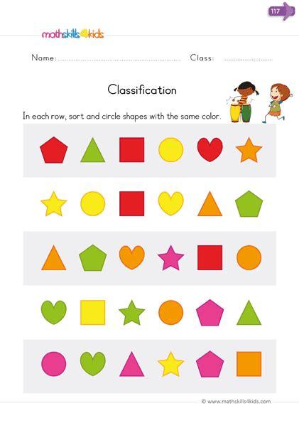sort  classify worksheets  kindergarten