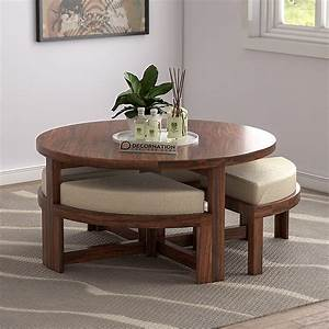 exeter, solid, wooden, circular, coffee, table, with, 4, stools, -, natural, finish