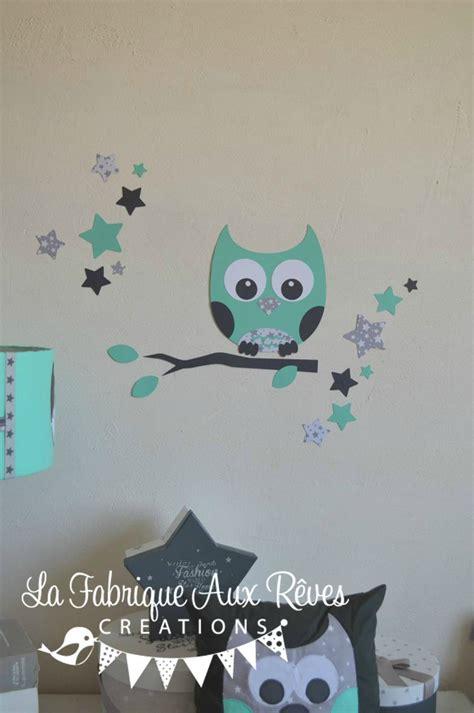 hibou chambre bébé stickers hibou étoiles vert eau gris décoration chambre