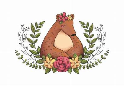 Bear Animal Forest Leaves Clipart Clip Flores