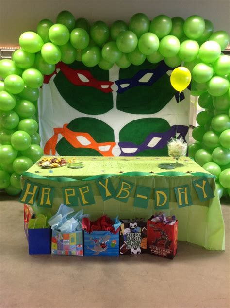 ninja turtle bday table decoration party decorations