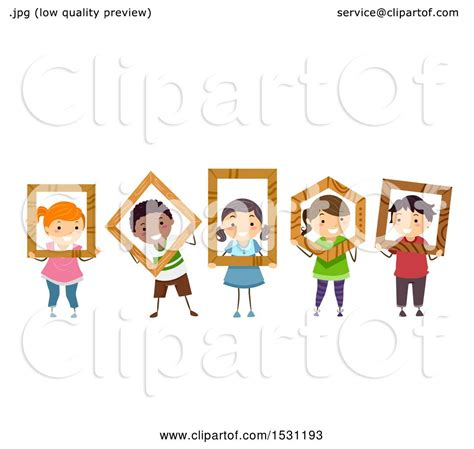 Clipart of a Group of Children Holding Wood Frames in ...