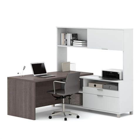 gray desk with hutch bestar pro linea l desk with hutch in white and bark grey