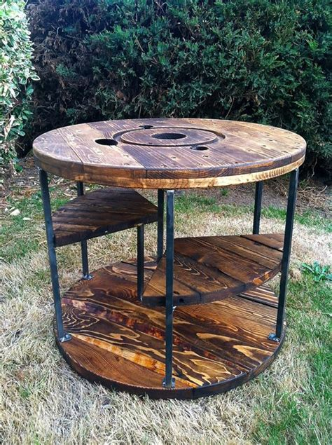 desk for two persons industrial pallet and spool table with storage pallet