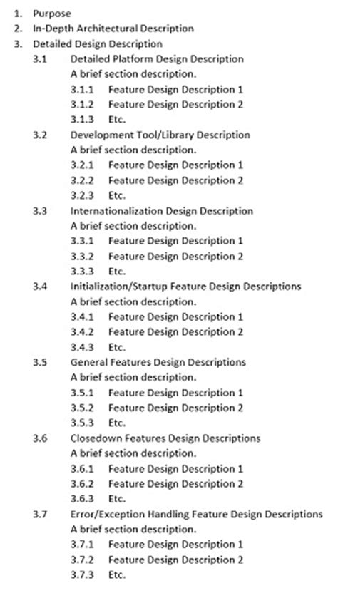 software design document template software design document templates exles study