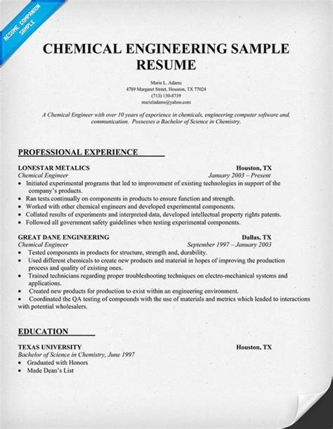 Chemistry Resume Format by Chemical Engineering Resume And Engineering On