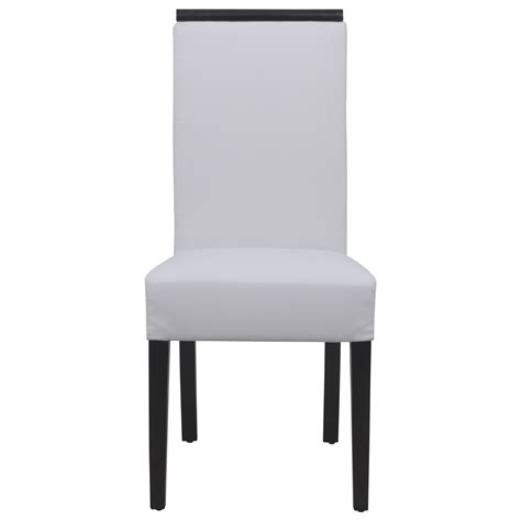 elroy vinyl leather dining chair in white set of 4