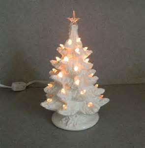 white christmas tree ceramic small lighted white glaze