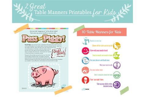 great table manners  kids printables imom