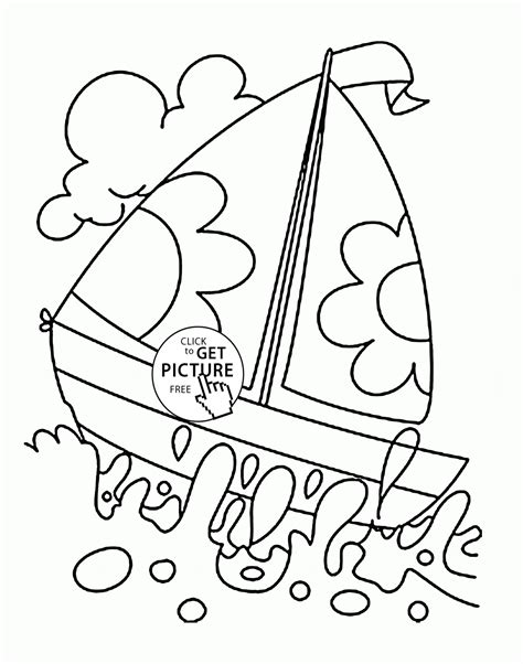 Boat Pictures For Kindergarten by Sailboat Water Coloring Page For Transportation