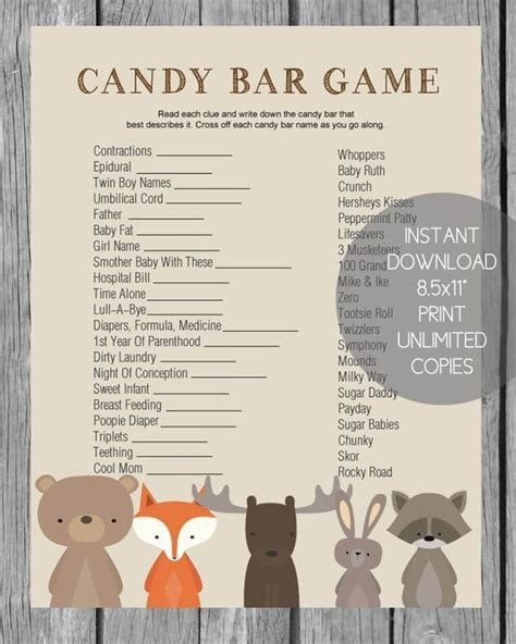 printable baby shower candy bar game woodland animals