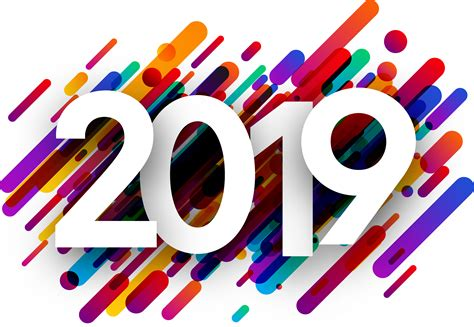 2019 New Year Background With Colorful Strokes.