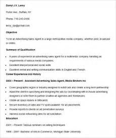 advertising resume template 16 free sles exles