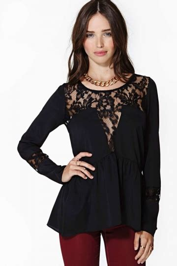 size black summer lace womens sheer peplum top