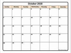 October 2018 calendar * October 2018 calendar printable