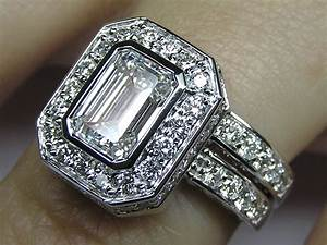 Emerald Cut Diamond Bezel Set Double Halo Bridal Set ...