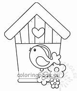 Bird Birdhouse Wooden Illustration Coloring Birds Vector sketch template