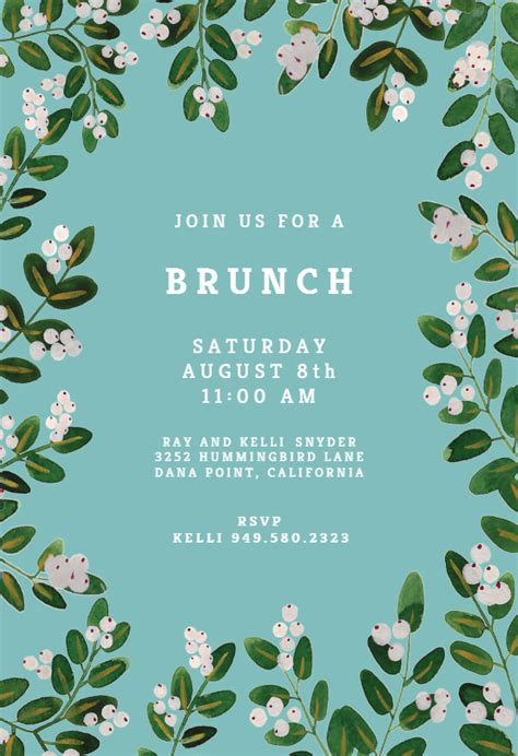 white bloom  brunch lunch invitation template