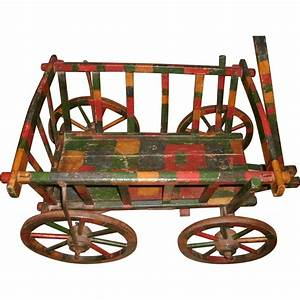 Wonderful Circa 1900 Antique Wooden Goat Wagon Cart Buggy ...