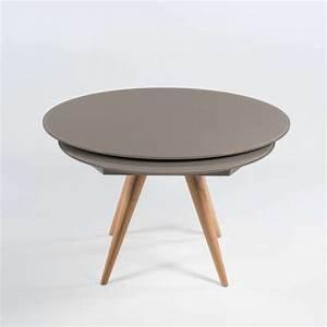 Table Ronde Moderne En Verre Et Bois Avec Allonges Demi